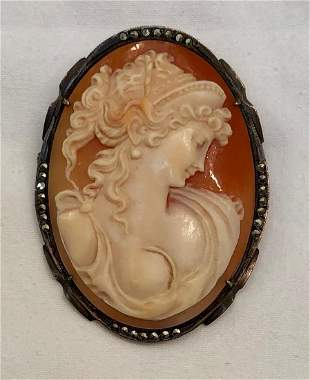 Victorian Carved Cameo Pendant / Brooch With Marcasite