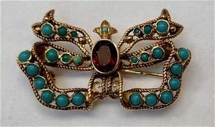 Estate 18K Gold Garnet & Turquoise Brooch