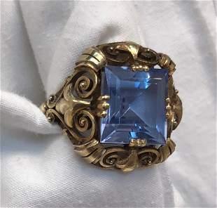 Antique European 14k Gold Ring With Aquamarine Gemstone