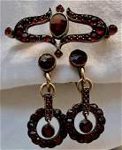 Antique Bohemian Garnet Brooch & Earrings