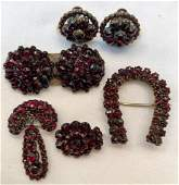 Victorian Bohemian Garnet Earrings, Brooch & Pins