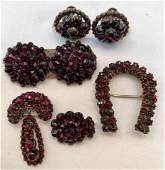 Victorian Bohemian Garnet Earrings Brooch  Pins