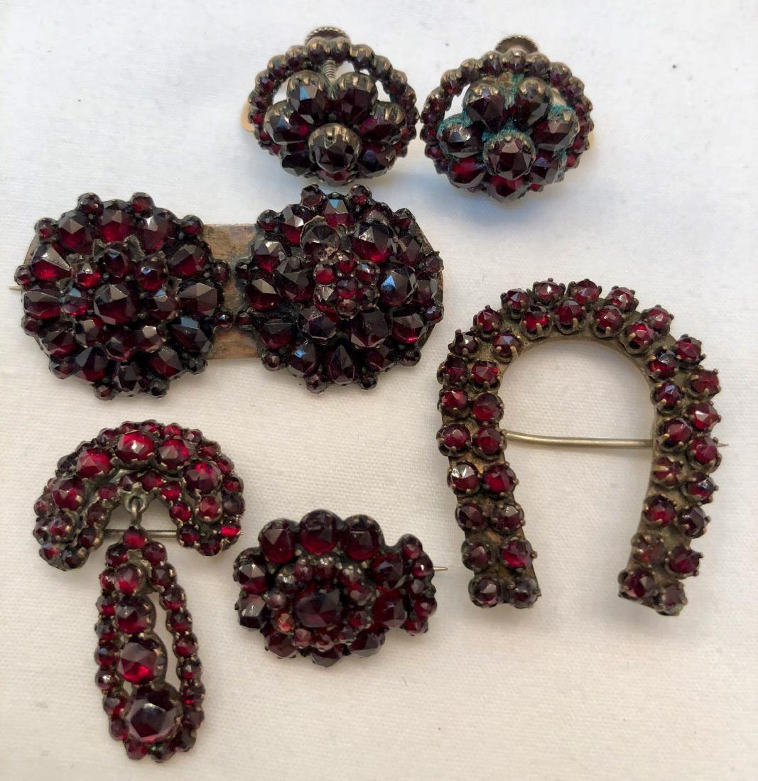 Victorian Bohemian Garnet Earrings, Brooch & Pins