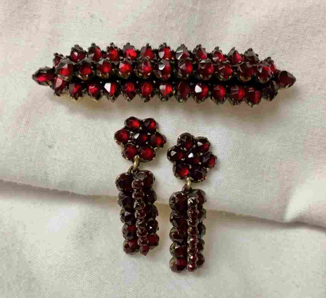 Victorian Bohemian Garnet Pin With Drop Earrings