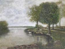 English Landscape Painting COWS ON RIVER BANK  JBergen