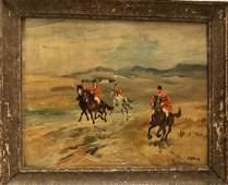 Antique British Fox Hunt Oil Painting ADAMS
