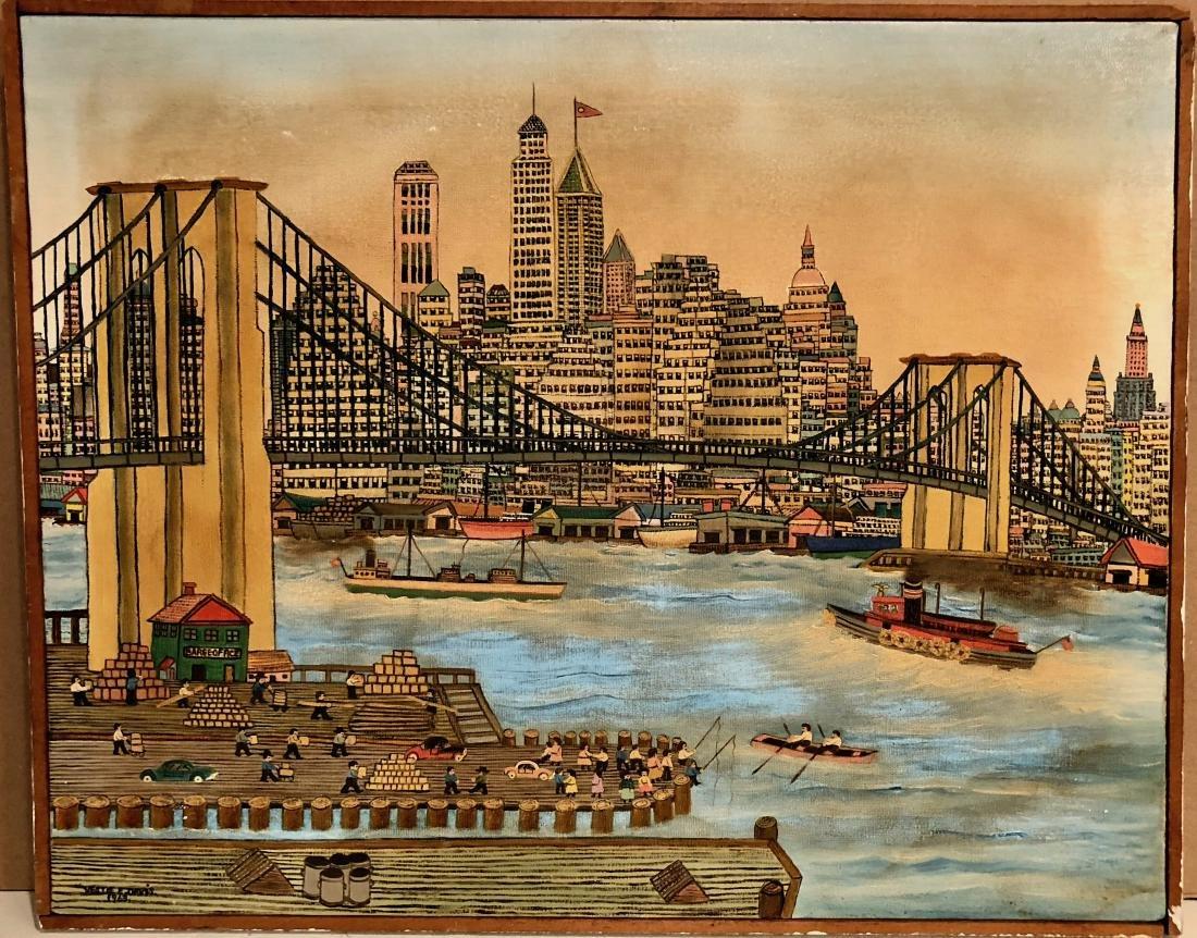 VESTIE DAVIS Painting View Of New York City 1963