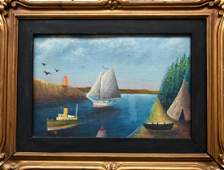American Primitive Waterway Landscape Painting On Panel