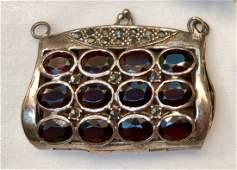 Victorian Bohemian Garnet Pendant Locket In S/Silver