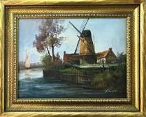 Dutch Coastal Painting w Windmill  Sailboat Signed
