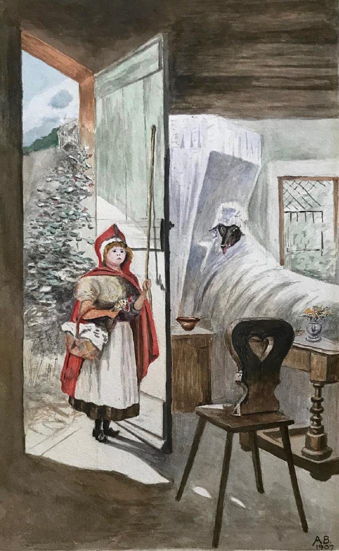 RED RIDING HOOD & BIG BAD WOLF Watercolor, A.B. 1907