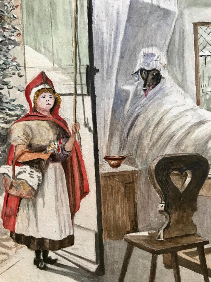 RED RIDING HOOD & BIG BAD WOLF Watercolor, A.B. 1907 - 3