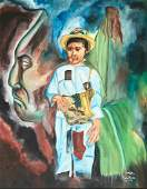 Mexican Oil Painting ANCESTORS Signed