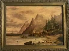19th Century Seascape Landscape Shore Painting