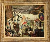 MARCHE AUX PUCES Oil Painting, L. Brune 1930s