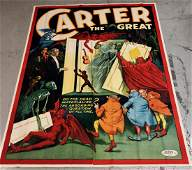CARTER THE GREAT MAGICIAN Color Lithograph Poster 1920s