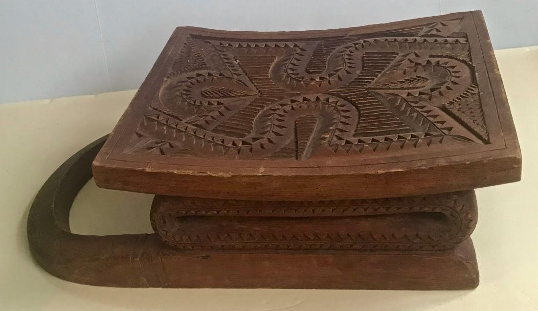 African Carved Wood Snake Stool - 2