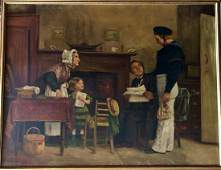 19th Century Oil Painting CALL TO DUTY C J Leon
