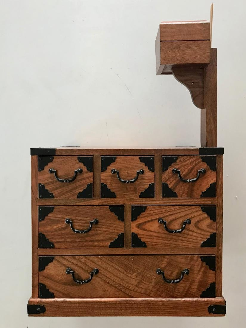 Antique Japanese Wood Sewing Cabinet