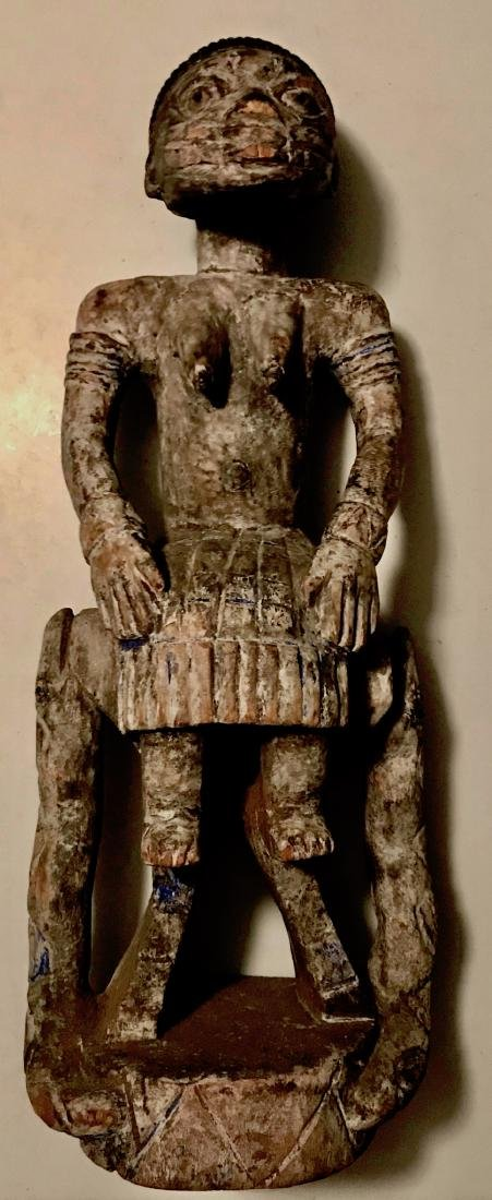 African Carved Fertility Idol On Snake Throne Chair