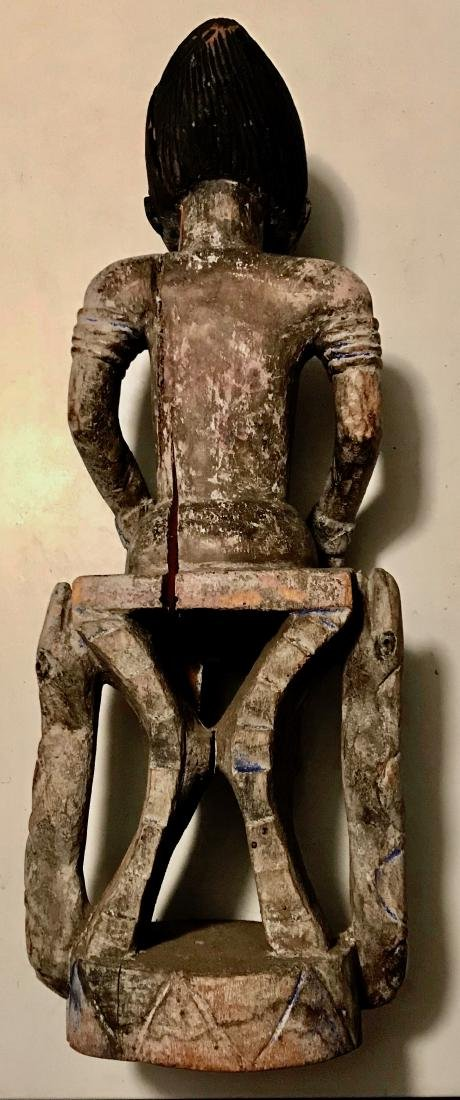 African Carved Fertility Idol On Snake Throne Chair - 2