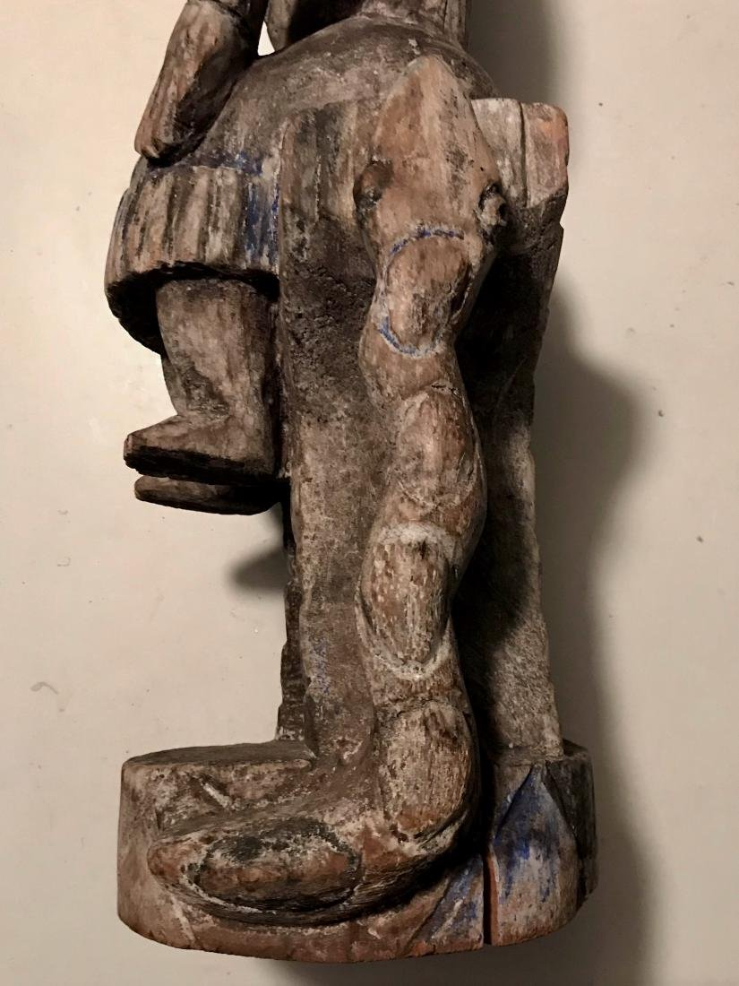 African Carved Fertility Idol On Snake Throne Chair - 3