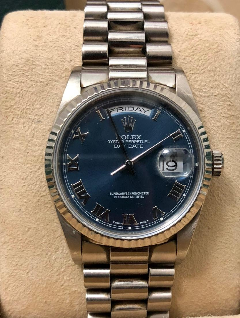 Rolex Oyster Perpetual Day,Date 18k White Gold Watch