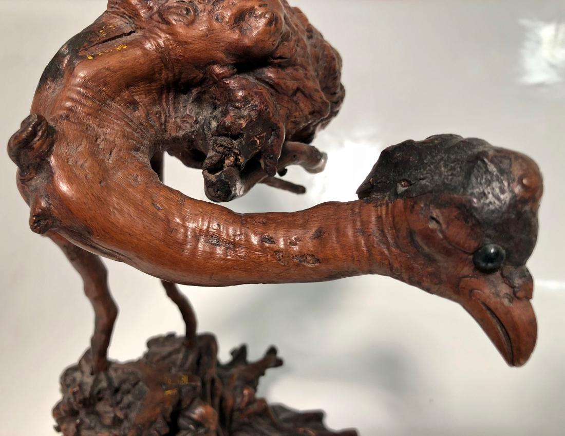 Antique Japanese Root Wood Bird Sculpture 1900s - 2