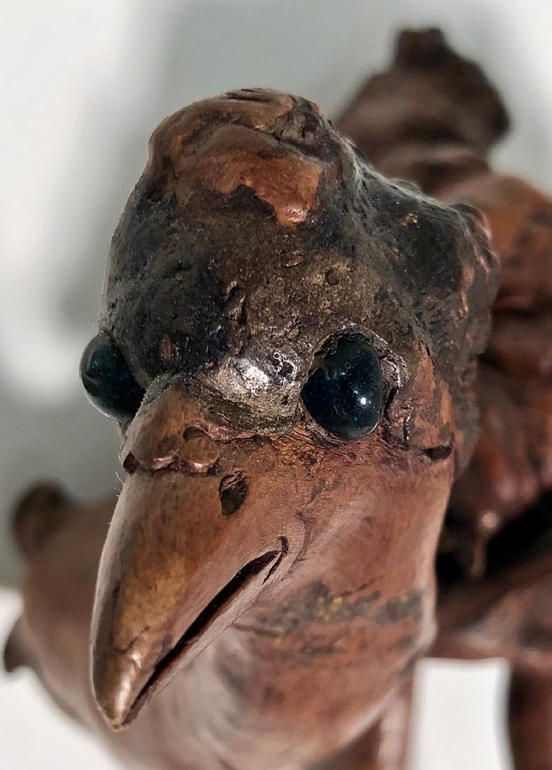 Antique Japanese Root Wood Bird Sculpture 1900s - 3