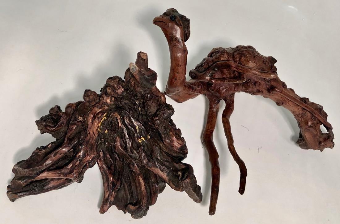 Antique Japanese Root Wood Bird Sculpture 1900s - 9