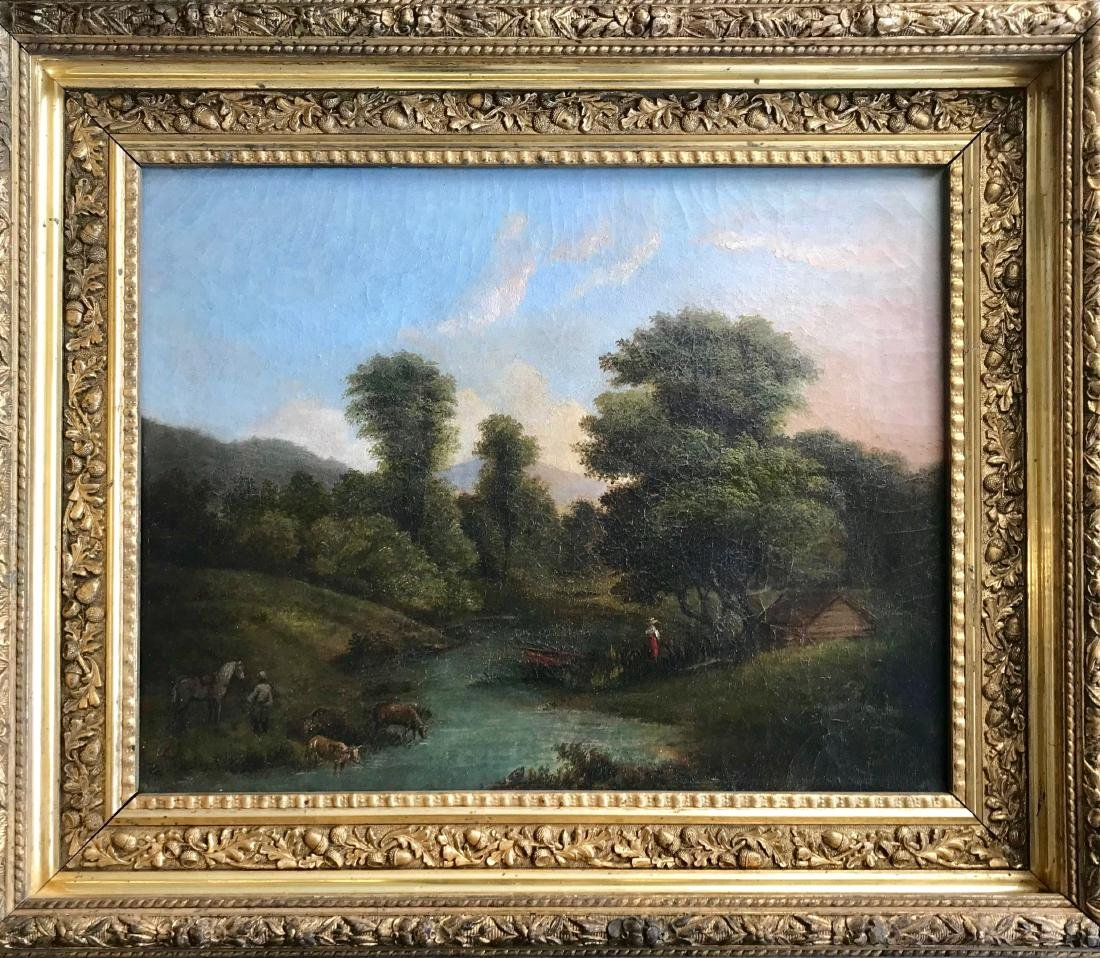 Hudson River School Oil Painting H.Ely, N.Y. ca.1870