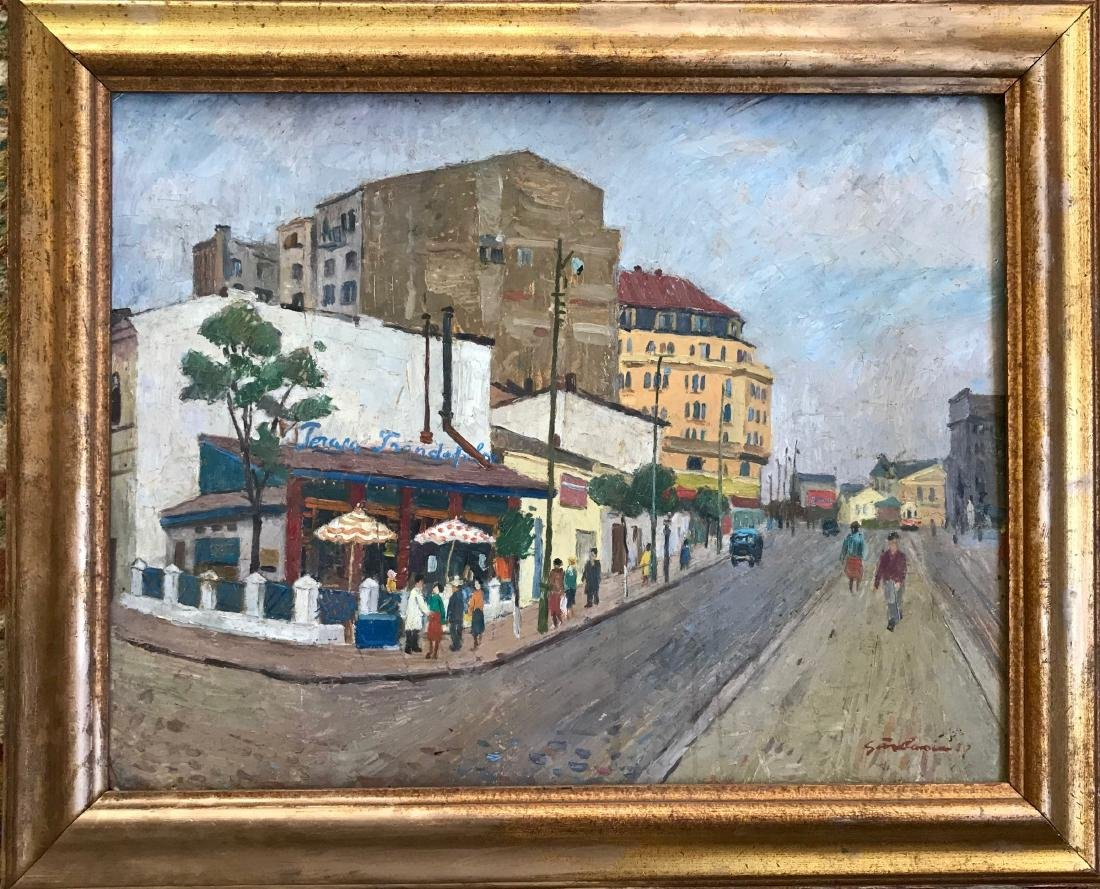 Mid-Century French Urban Street Painting Signed 1958