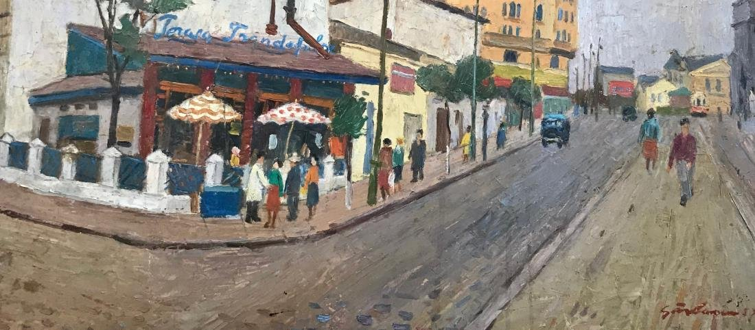 Mid-Century French Urban Street Painting Signed 1958 - 3