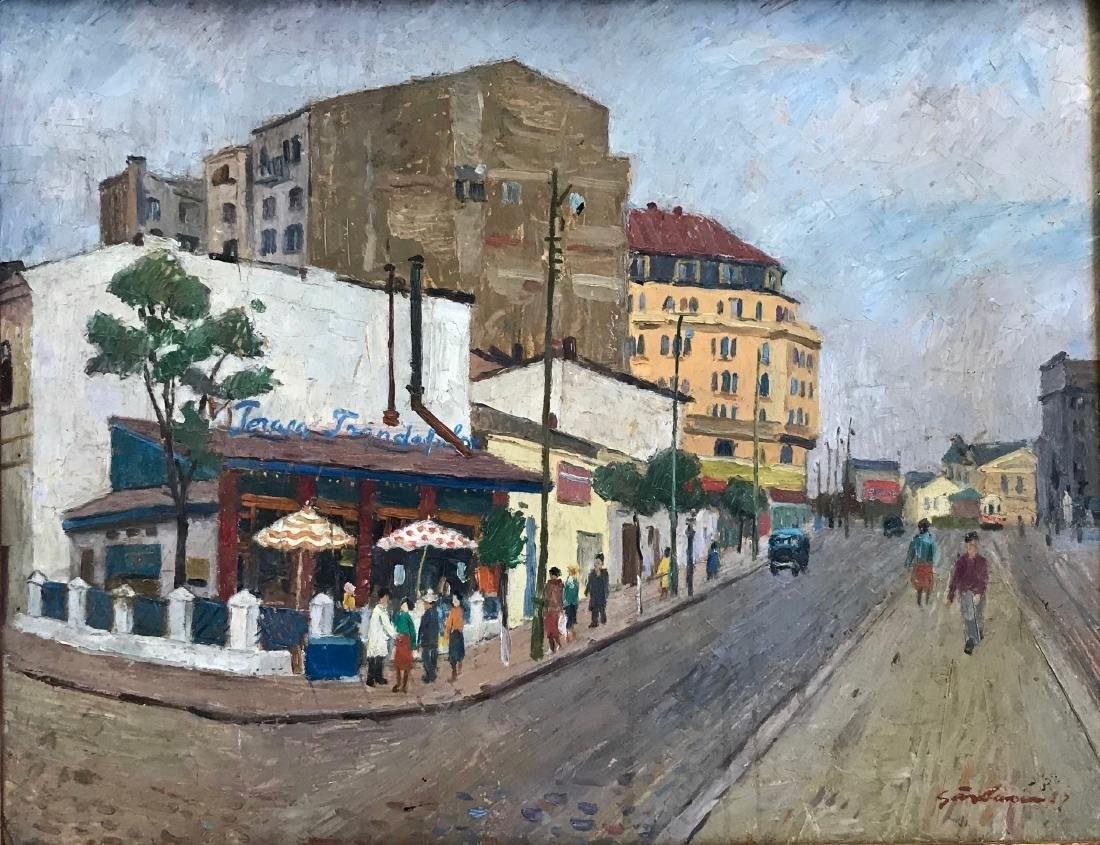 Mid-Century French Urban Street Painting Signed 1958 - 4