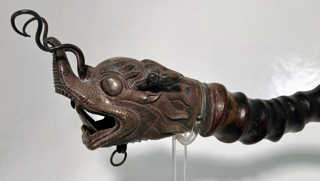 Chinese Silver Dragon Head PAYSAN Opium Pipe - 2