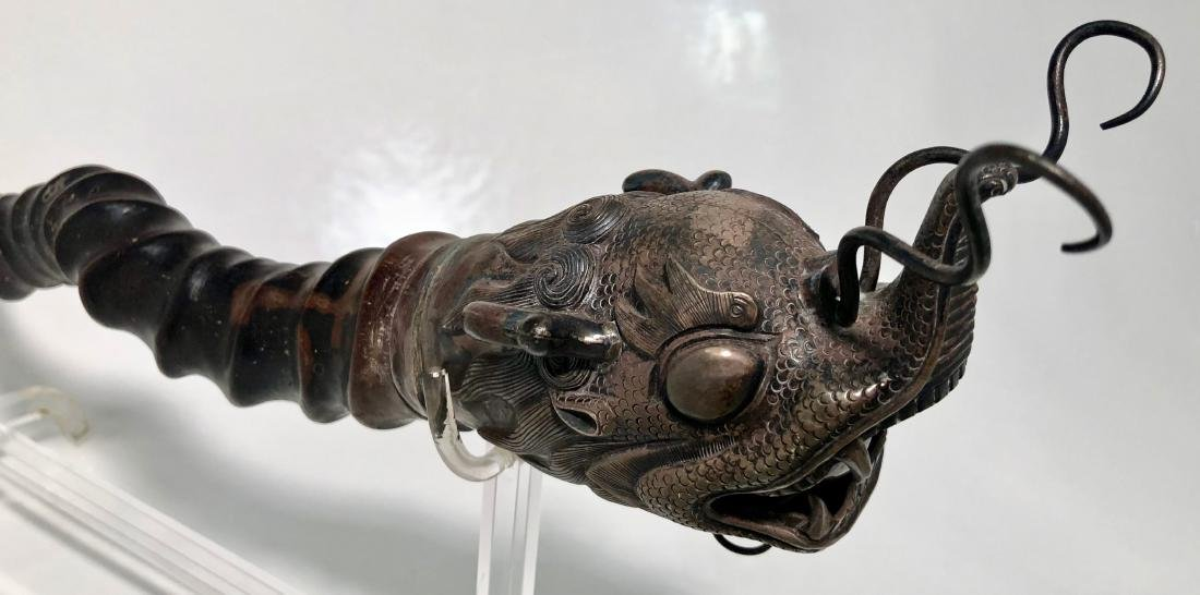 Chinese Silver Dragon Head PAYSAN Opium Pipe - 3