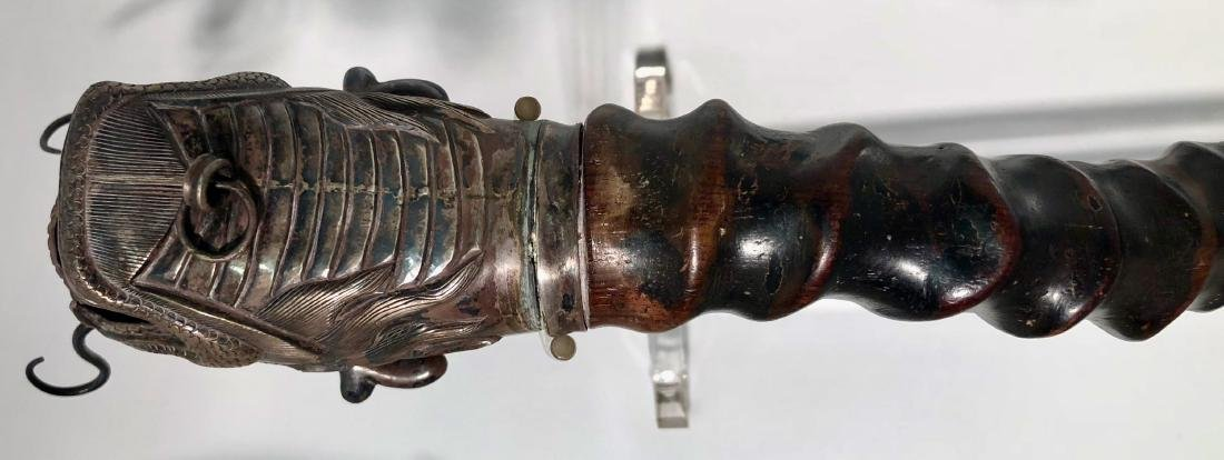 Chinese Silver Dragon Head PAYSAN Opium Pipe - 7