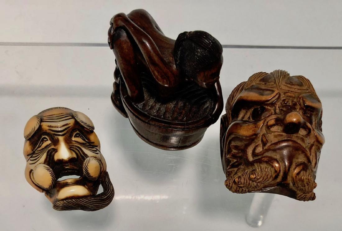 Japanese Carved Netsuke DEMONS & EROTICA Signed (3)