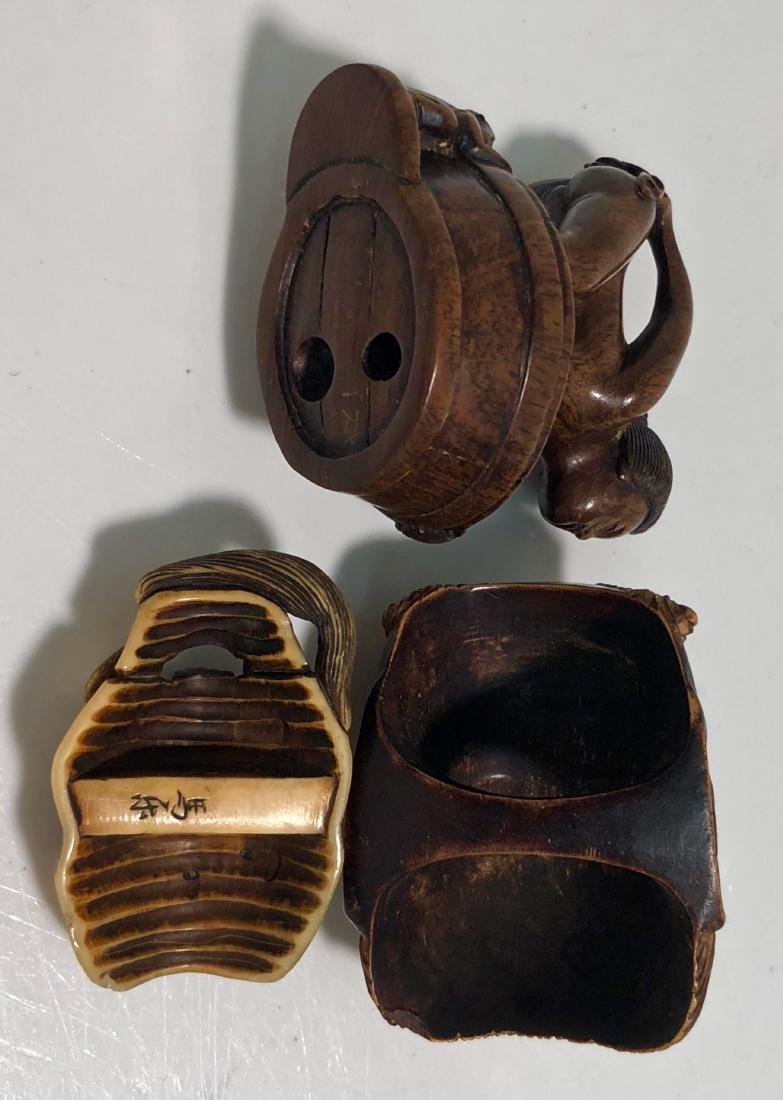 Japanese Carved Netsuke DEMONS & EROTICA Signed (3) - 2