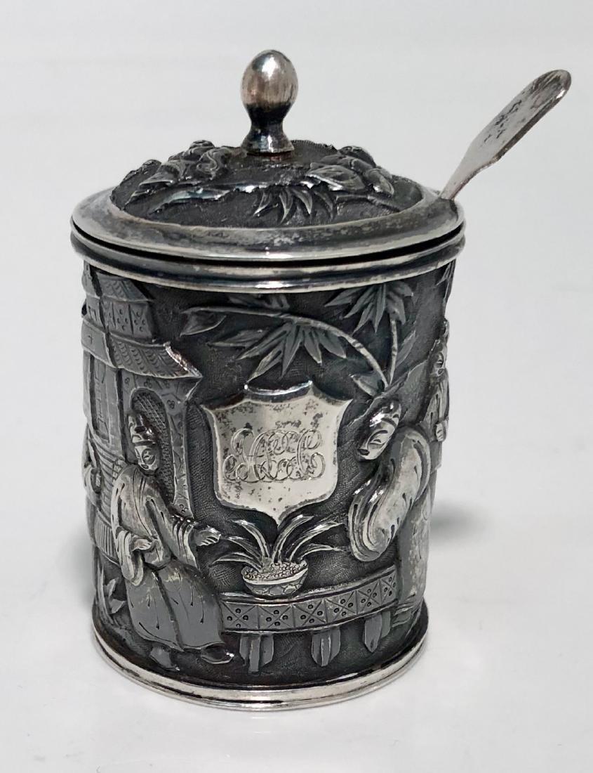 Chinese Export Silver Mustard Pot HUNG CHONG