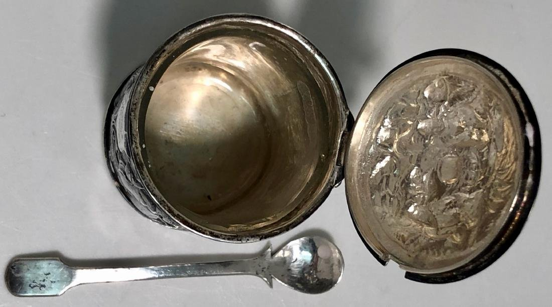 Chinese Export Silver Mustard Pot HUNG CHONG - 4