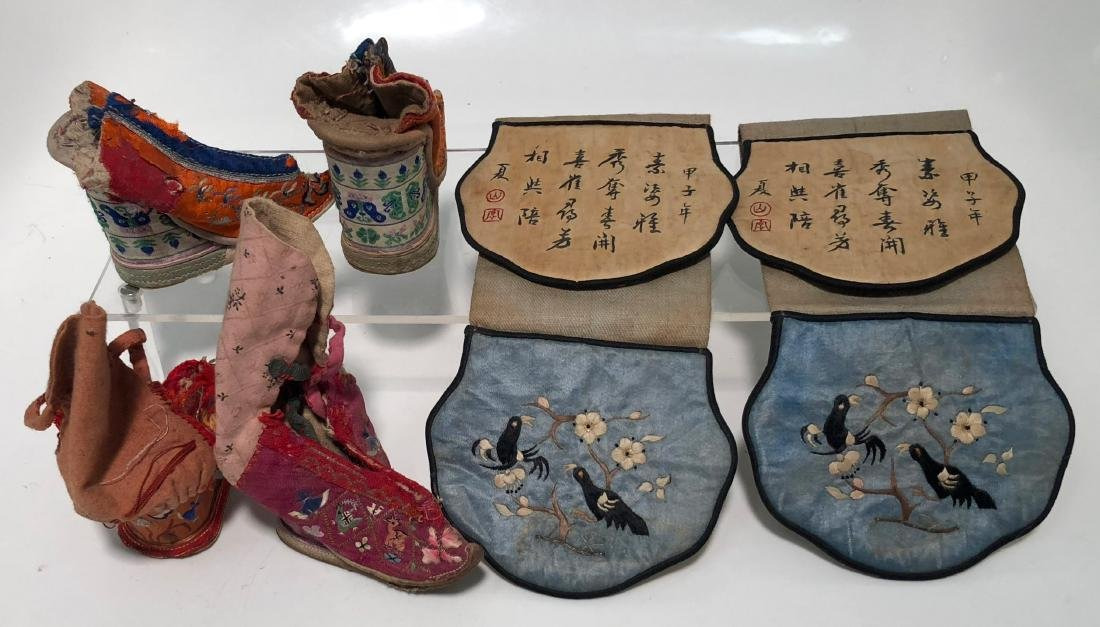 Chinese Embroidered Silk Shoes & Panels, 19th Century