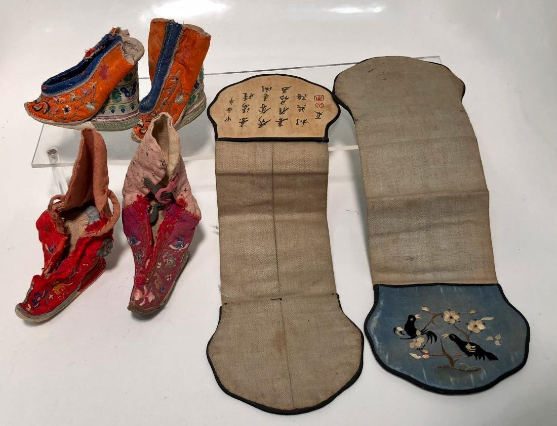 Chinese Embroidered Silk Shoes & Panels, 19th Century - 2