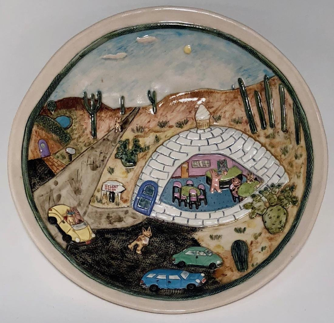 Wilensky Studio Art Pottery DESERT IGLOO W/ Cats