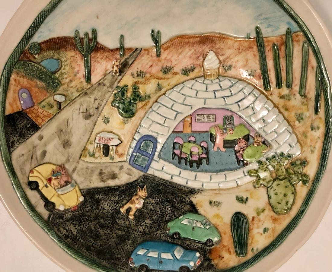 Wilensky Studio Art Pottery DESERT IGLOO W/ Cats - 4