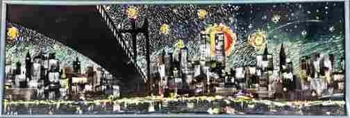 N.Y.C. Manhattan Skyline Panorama Painting, Signed