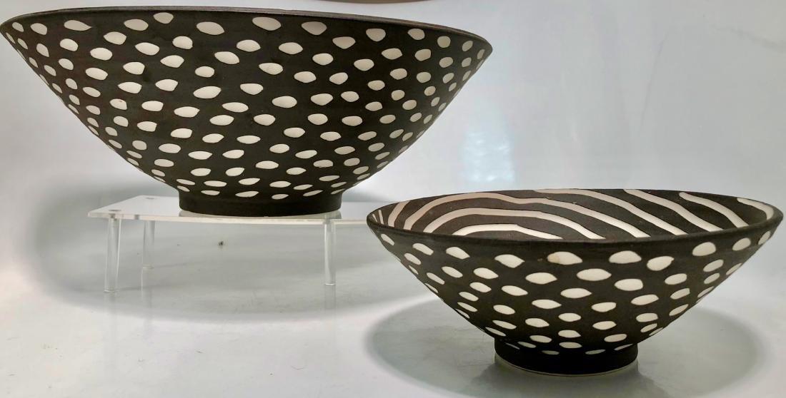 Halvorsen Stoneware Footed Bowls W/ Sgraffito (2) - 3