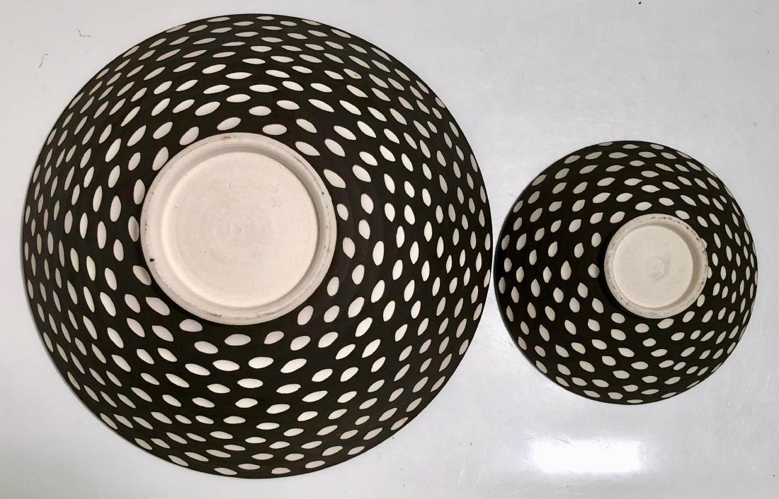 Halvorsen Stoneware Footed Bowls W/ Sgraffito (2) - 4