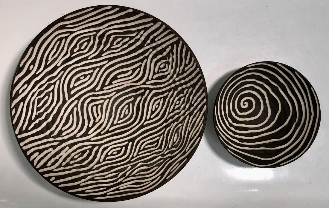 Halvorsen Stoneware Footed Bowls W/ Sgraffito (2) - 7