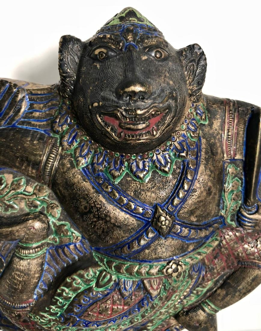 Antique Lord Hanuman Polychrome Covered Container - 2